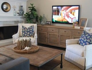 Wall mount tv over credenza - I like the styling...especially glass ...