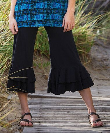 49d5c69338902 This Black Ruffle Capri Pants - Women by Jayli 100% cotton cruelty free  vegan and so comfortable. You will love these pants.
