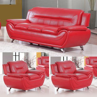 US Livings Anika Faux Leather Modern Sofa and 2 Chairs - 2533-S+2C ...