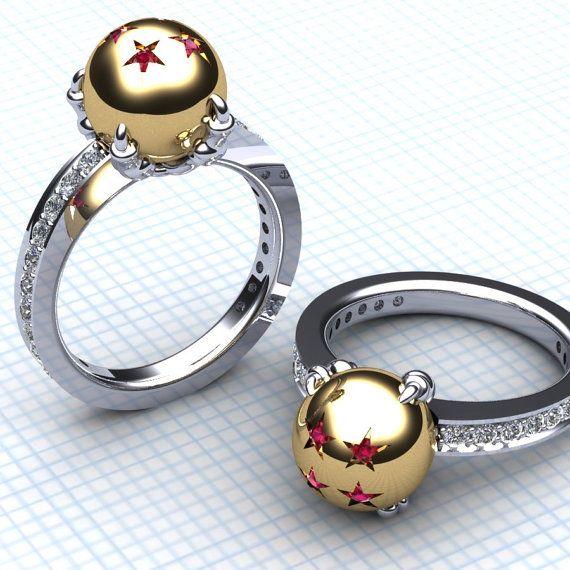 Dragn de las damas y su bola anillo DBZ oro amarillo para su de