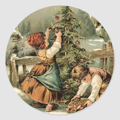 A Merry Christmas Classic Round Sticker - christmas ...