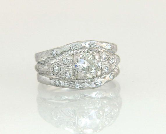 Antique Estate Platinum 84ct Genuine Diamond Art Deco Wedding Ring