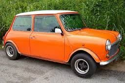 orange mini -A really old, old F reg (1967, older than me!!), very rickity :(