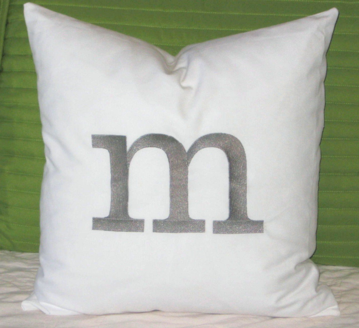 "Initial Pillow Covers Personalized Initial Pillow Cover 18"" X 18"" White Cotton Fabric With"