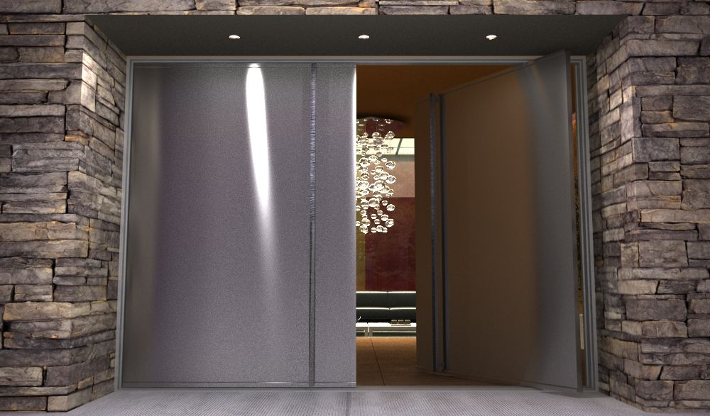 Contemporary stainless steel entry doors pair of modern for Custom made exterior steel doors
