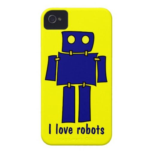 I Love Robots iPhone 4s Cases Yellow and Blue Case-Mate iPhone 4 Case