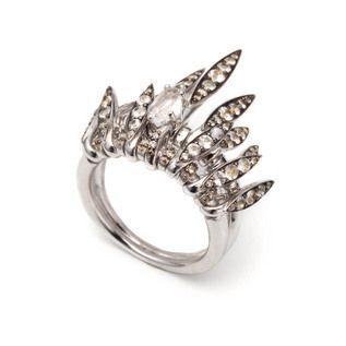 White Sapphire and Clear Quartz Fringe Ring