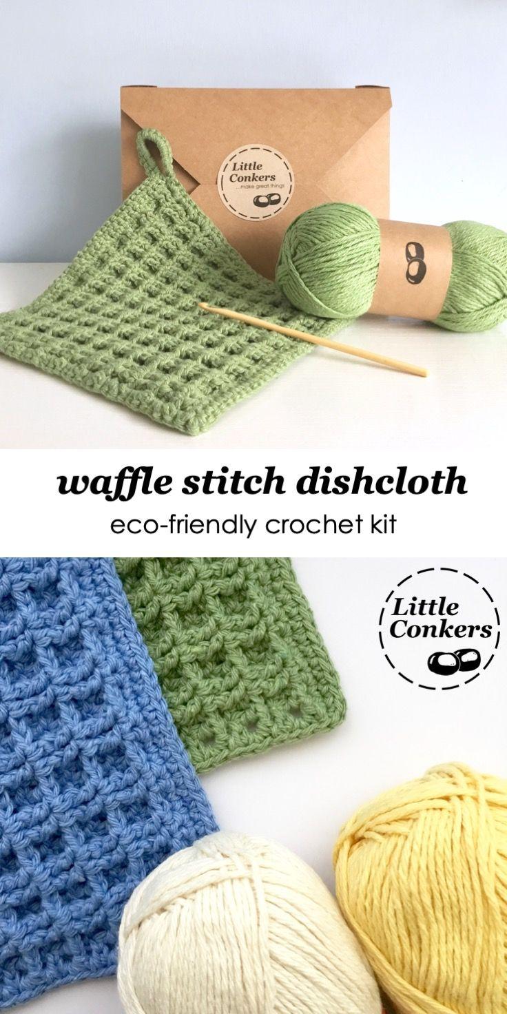 Waffle Stitch Dishcloth Crochet Kit