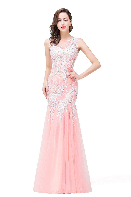63047e8ca5 Babyonline Long Lace Mermaid Evening Prom Dresses Sleeveless Bridesmaid  Gowns: Amazon.co.uk: Clothing