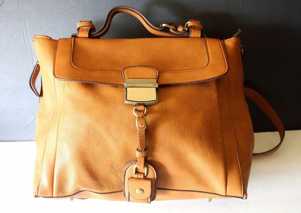 Melie Bianco 'Desiree' #Satchel Crossbody Bag, Large Whiskey color (orange brown ) in #vegan faux leather #MelieBianco #Satchel #handbag
