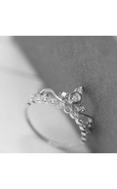 Graceful Crown Style 925 Silver Promise Ring For Her Style Rings