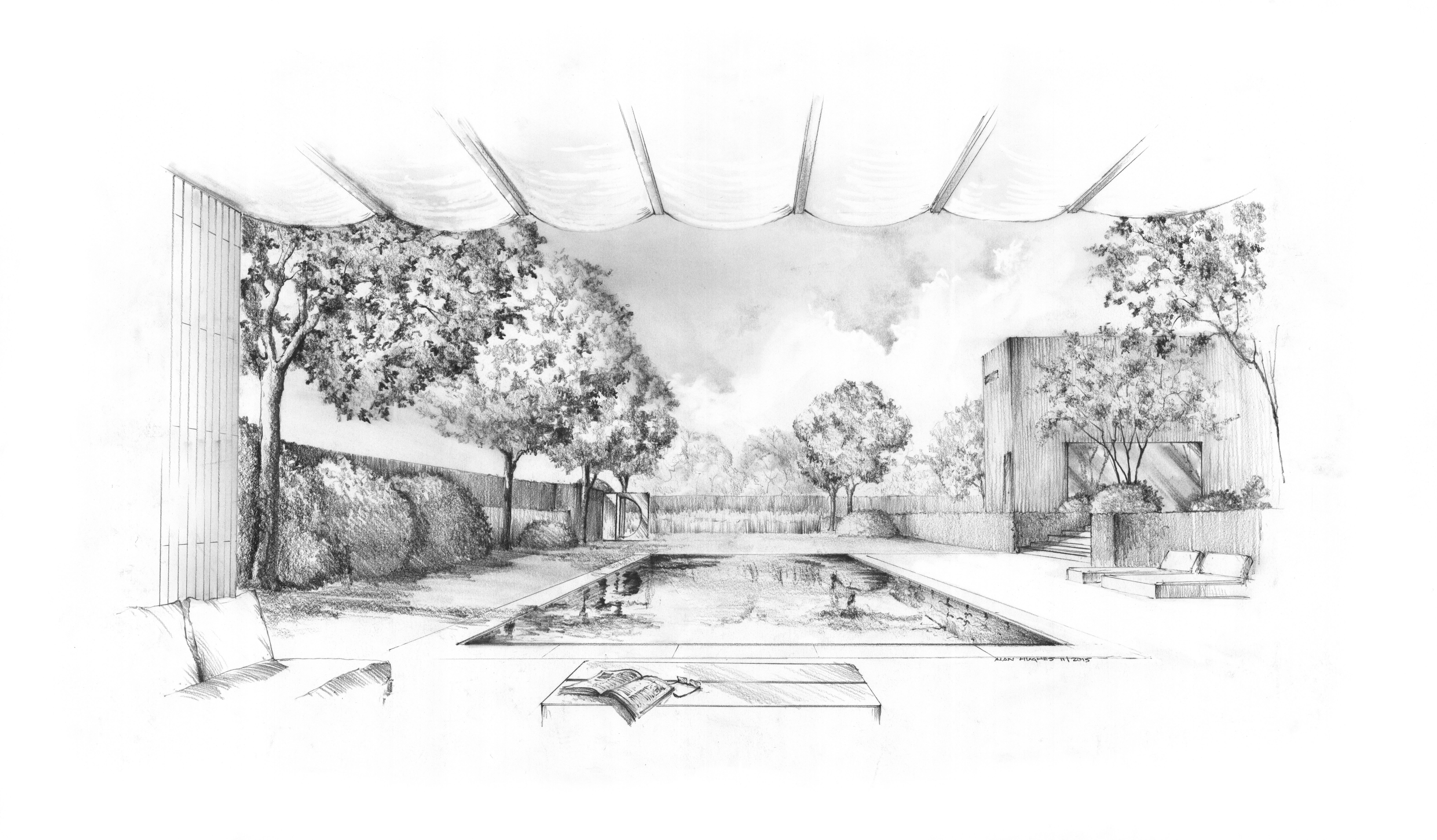Long island garden pool view from under the awning pencil drawing alan hughes