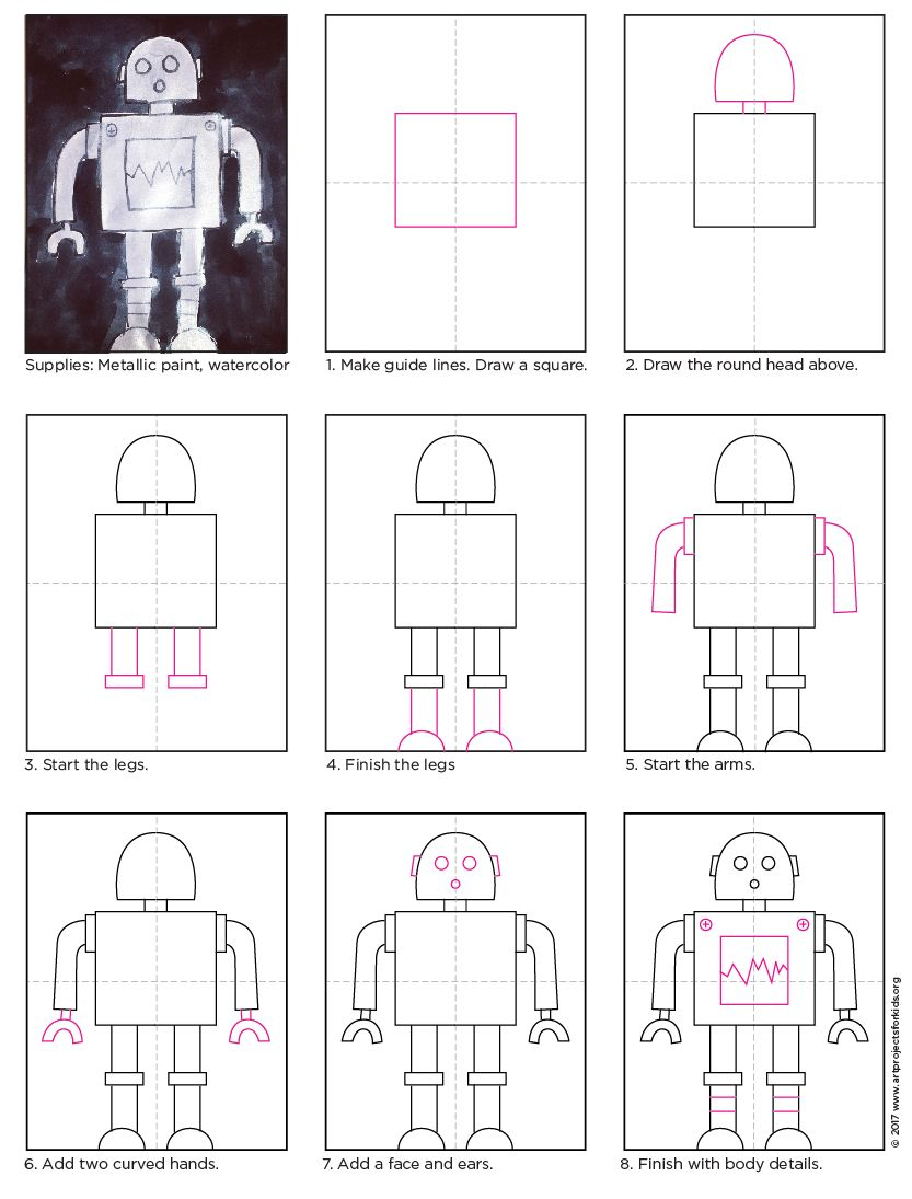 How To Draw A Robot Art Projects For Kids Robot Art Kids Art Projects Drawing Videos For Kids