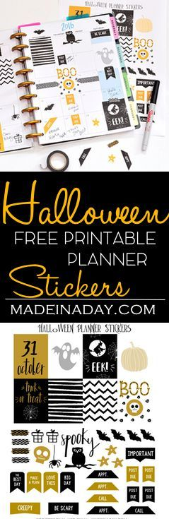 October Halloween FREE Printable Planner Stickers,Come and get your sweet scary planner sticker for Halloween!  via /madeinaday/
