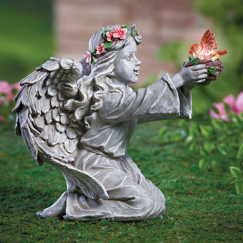 Solar Angel Statue With Amber Led Bird Outdoor Garden And