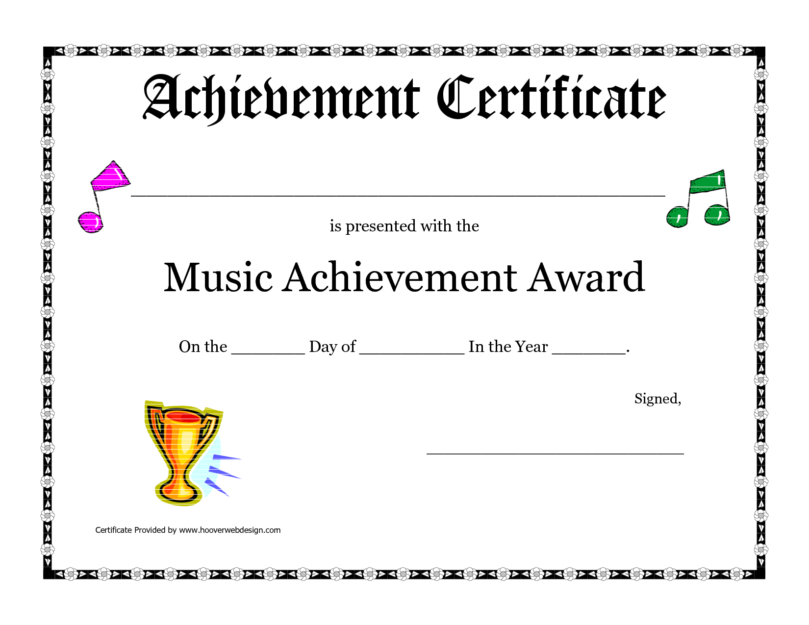 free printable achievement award certificate template