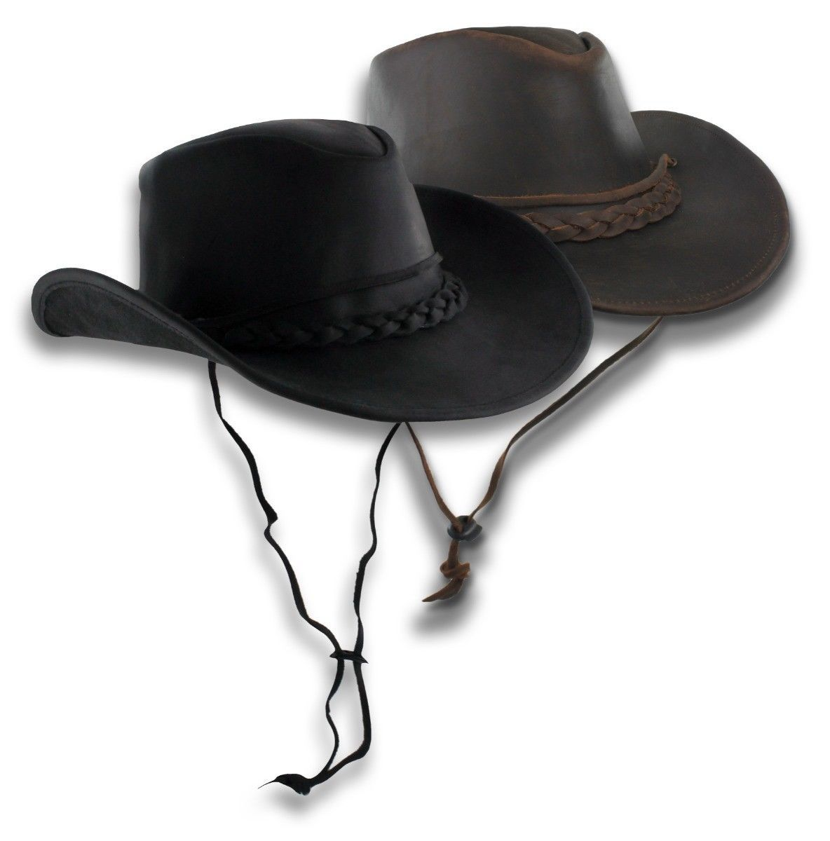 e43f8d18f Distressed Brown Leather Outback Hat Aussie Western Cowboy Wide Brim ...