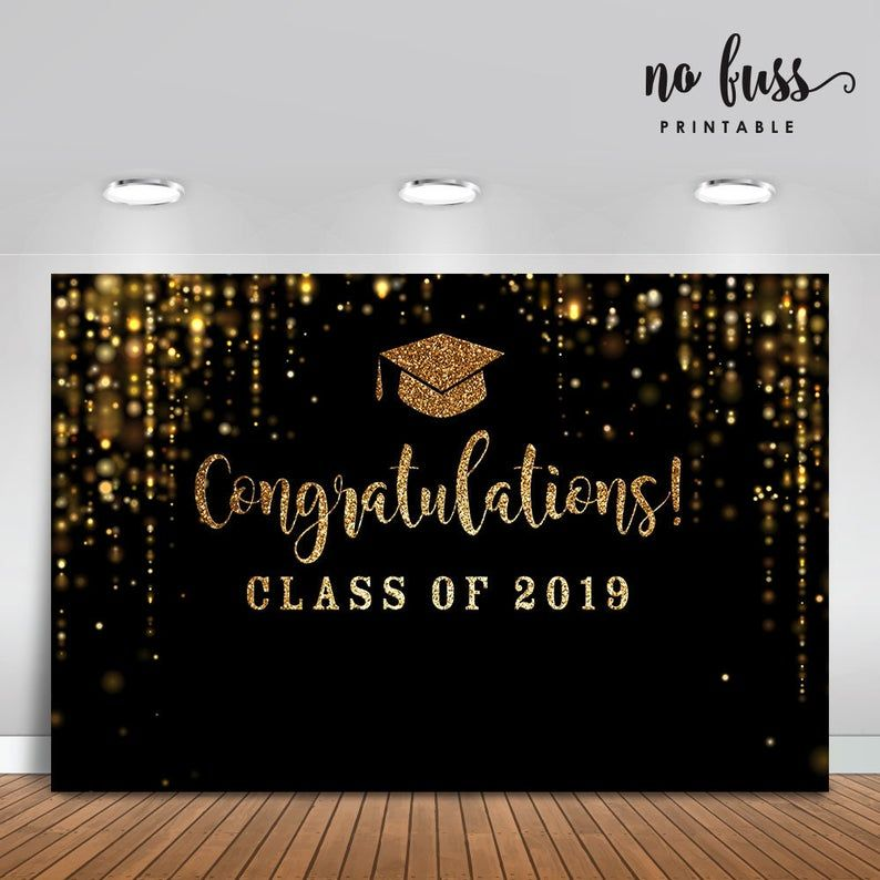 Black and Gold Backdrop | Graduation party | Poste