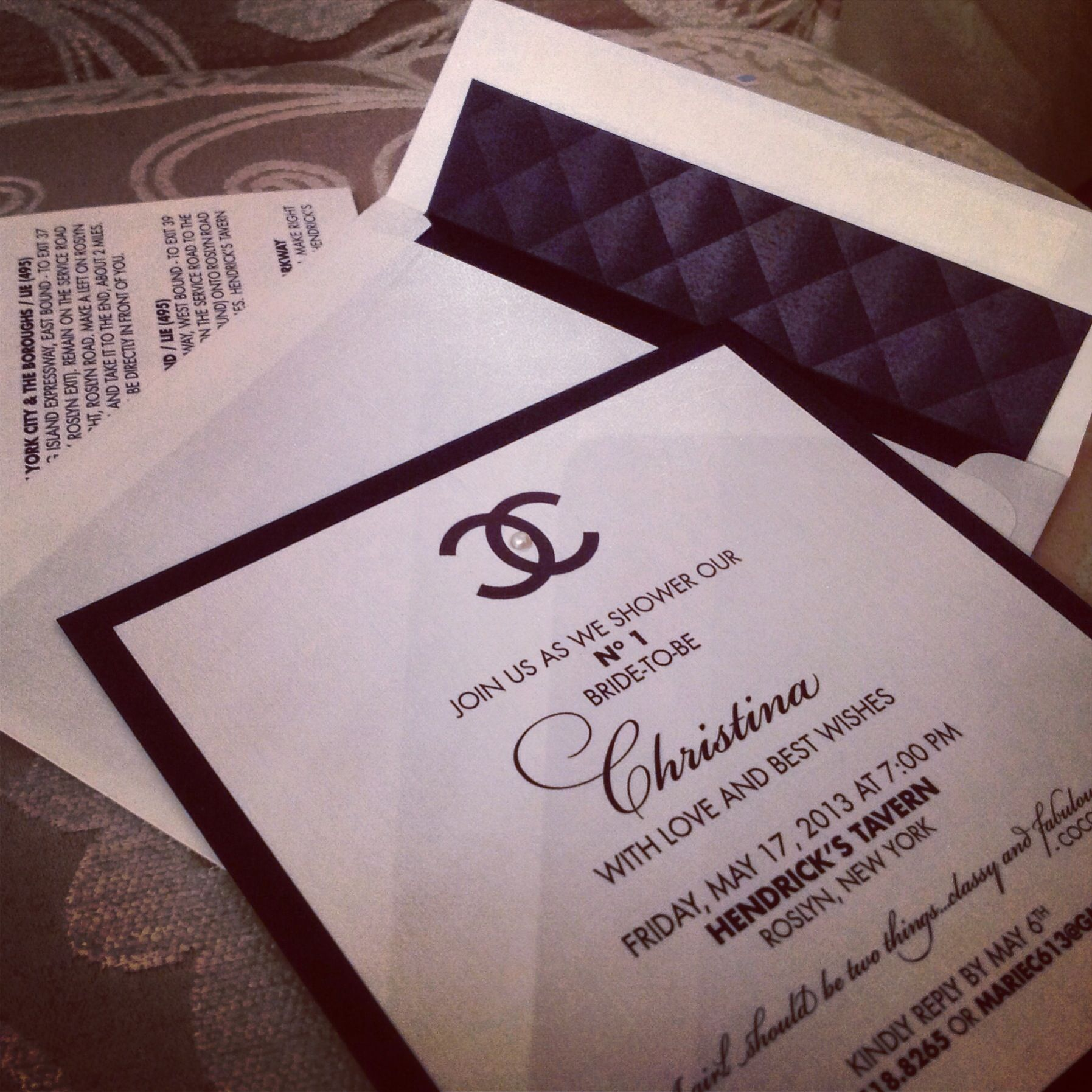 Chanel Inspired Bridal Shower Invites Designed At The Wedding