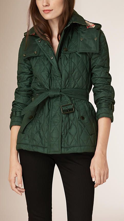 4f660d52281 Burberry Dark racing green Diamond Quilted Jacket