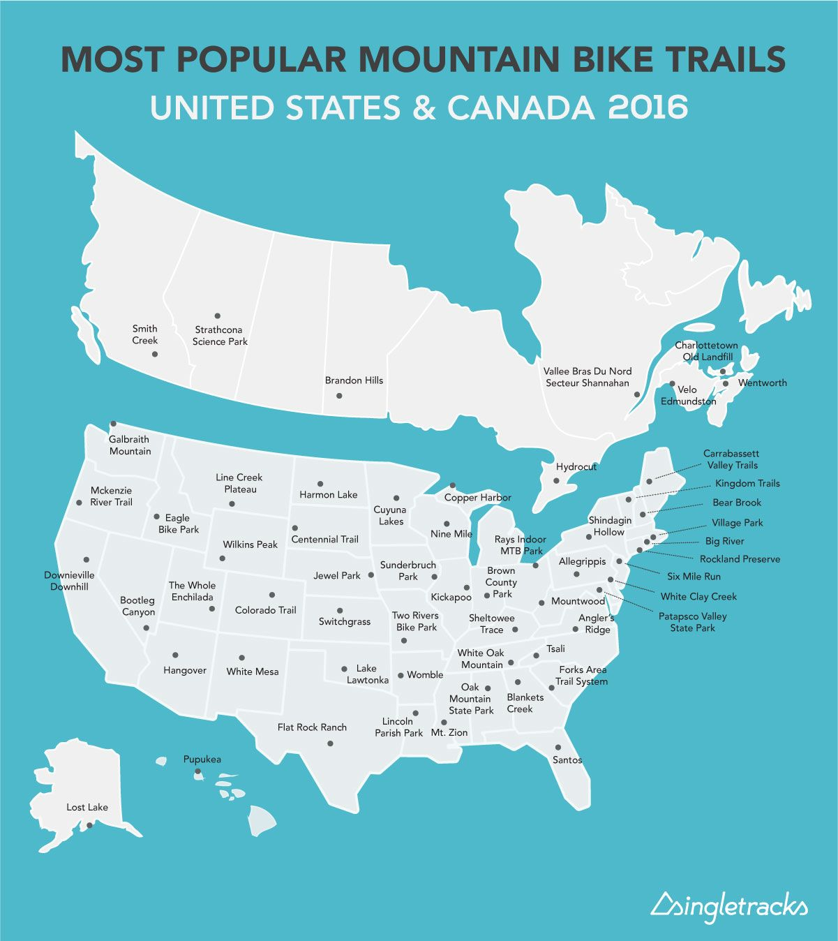 Most Popular Mountain Bike Trails in the US and Canada, State-by-State (2016)