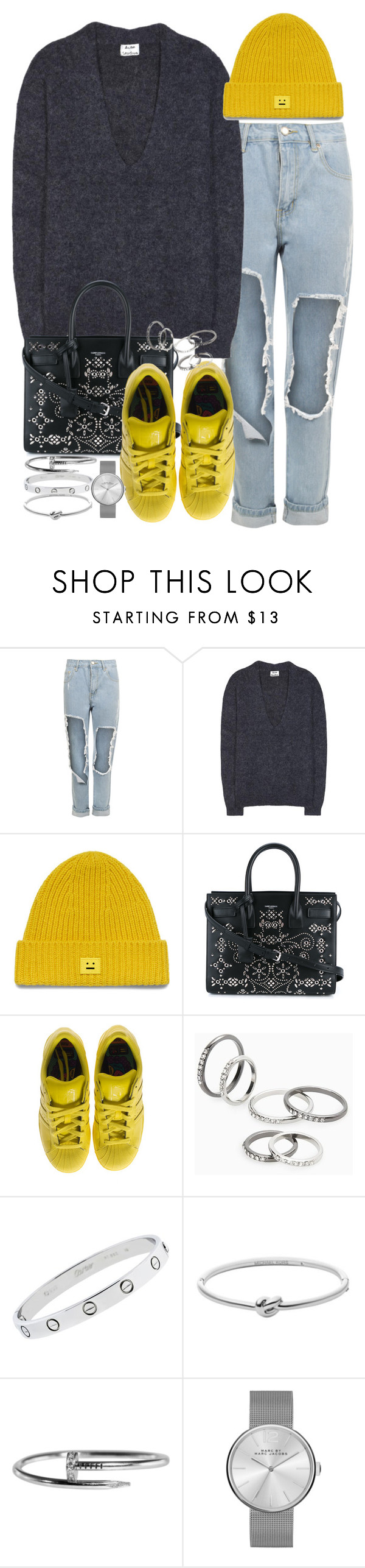 """""""Sin título #3981"""" by hellomissapple ❤ liked on Polyvore featuring WearAll, Acne Studios, Yves Saint Laurent, adidas, MANGO, Cartier, Michael Kors and Marc by Marc Jacobs"""