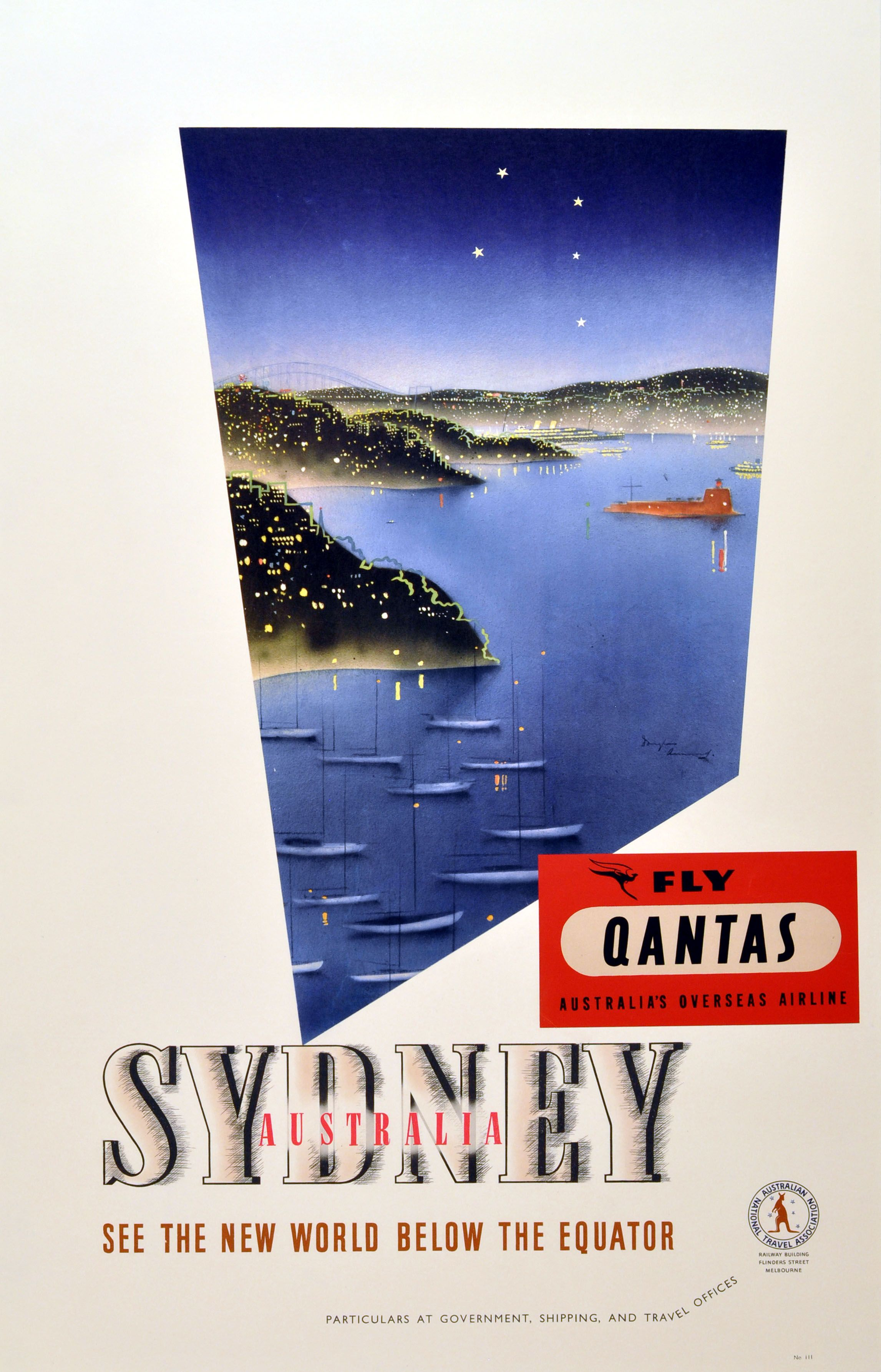 Sydney Australia By Qantas 1930s Original Vintage Poster By Douglas Annand Listed On Antikbar Co Uk Travel Posters Vintage Travel Posters Travel Advertising