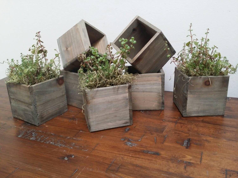 Herb Planter Box Indoor Part - 23: Reclaimed Wooden Planter Boxes - Rustic Wooden Pots - Indoor Gardening -  Rustic Home