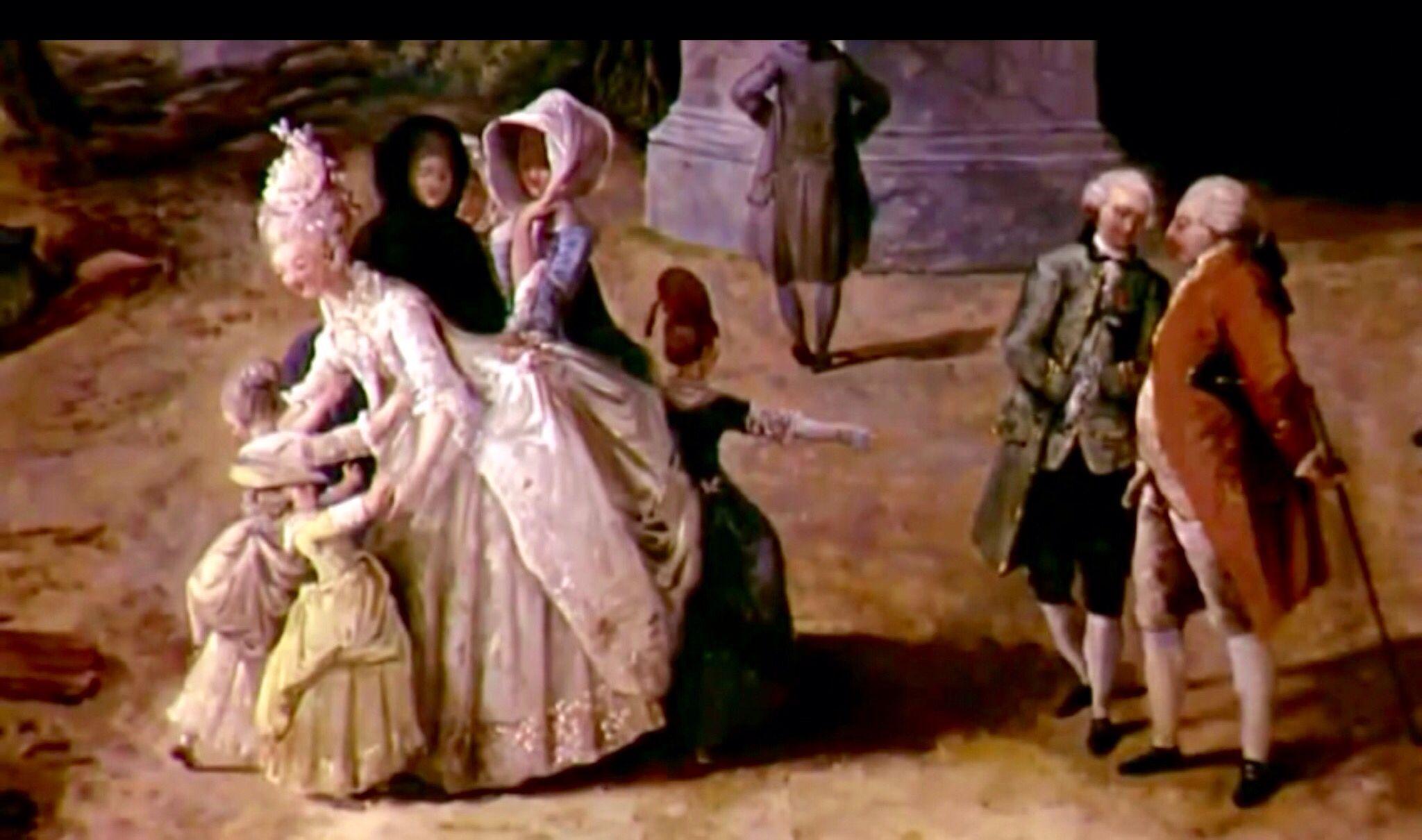 María Antonieta ,la Princesa de Lamballe y Luis XVI ,paseando en los jardines de Versalles .