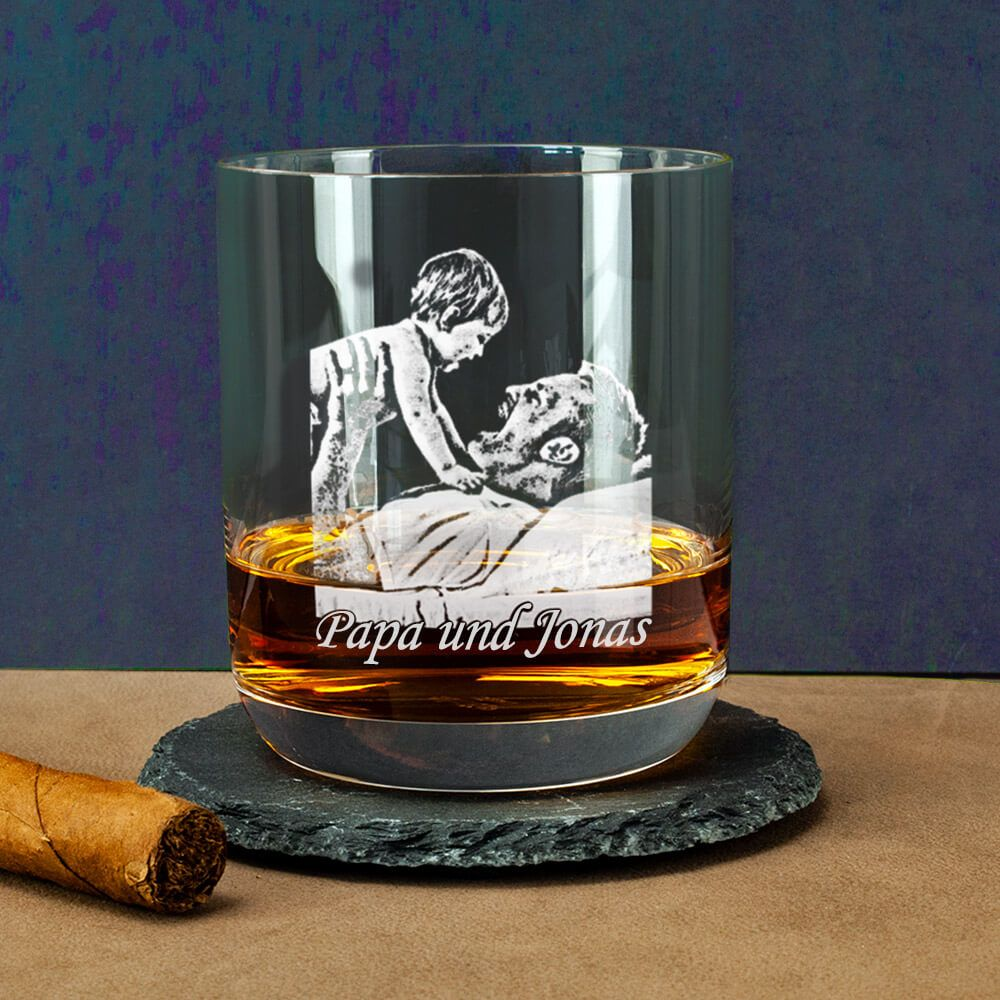 Photo of Give a photo engraved whiskey glass for Father's Day