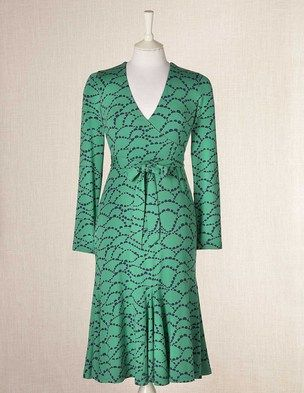I'm not sure how this would look on me but I really love this dress, the pattern, colors, long sleeves, flutter hemline and it would be perfect for my fall wedding event.