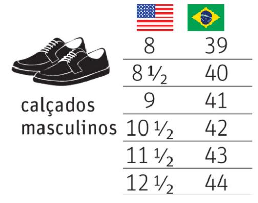 85e7da6e5 Numeração de tênis e sapato masculinos EUA x Brasil