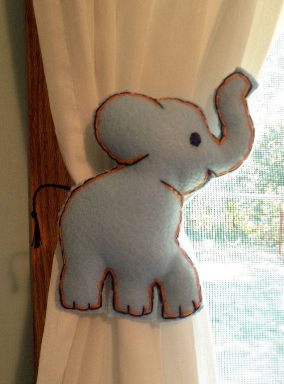 Blue Elephant Curtain Tie Backs Nursery Decor Noah S By Ladykates 15 00 Elephant Baby Rooms Elephant Nursery Jungle Baby Room