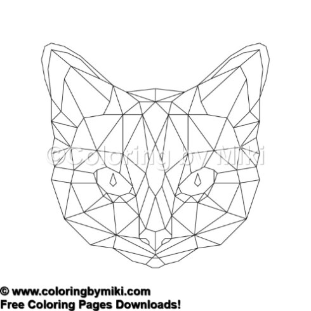 Geometric Cat Coloring Page 722 ぬり絵 コロリアージュ 塗り絵