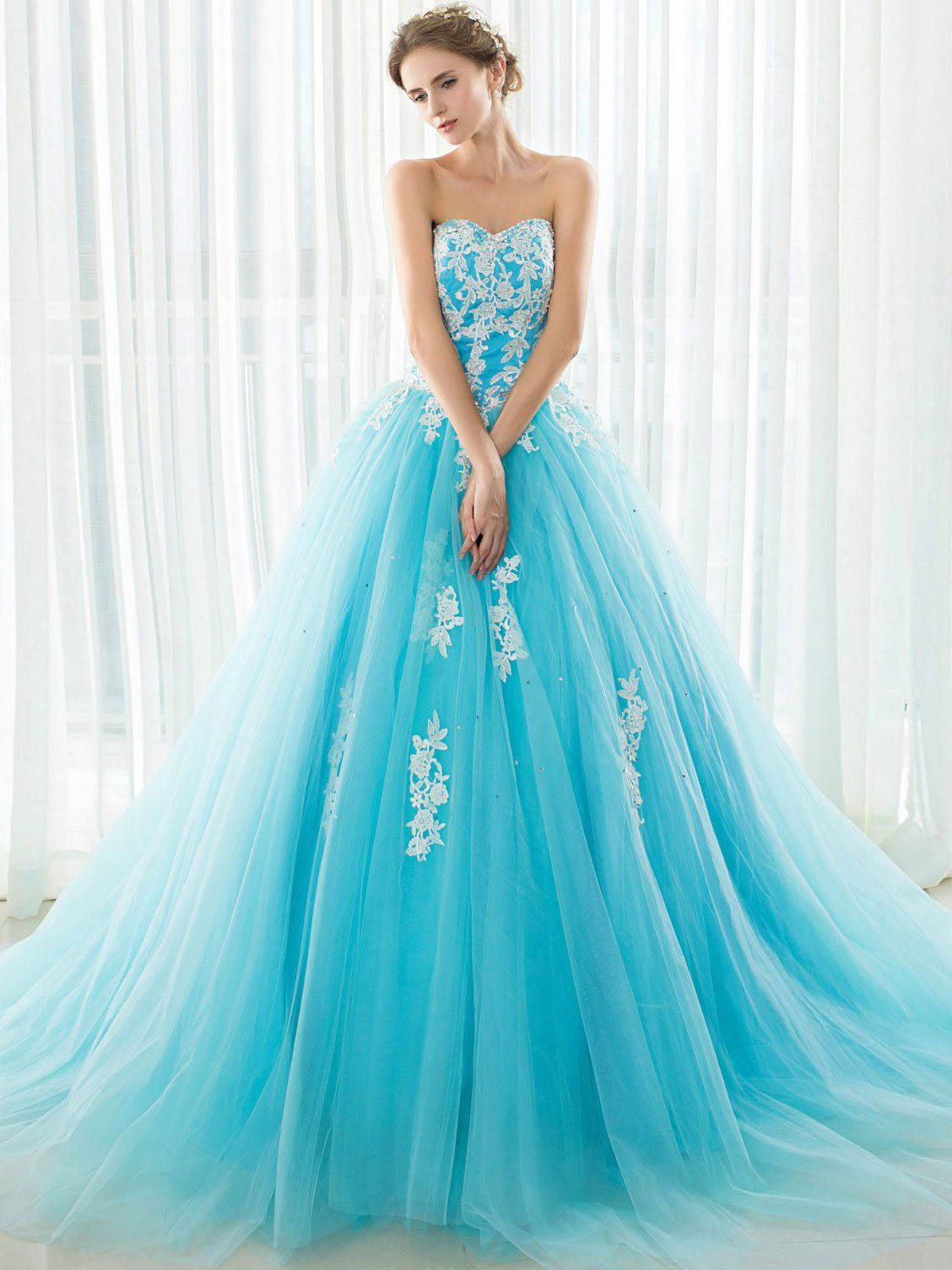Strapless White Lace Appliqued Tulle Ball Gown Prom Dresses APD3014 ...