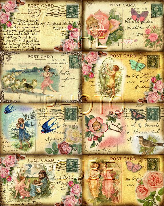 Shabby Chic Botanical Cards 2,5x3,5 Digital Collage Sheet Printable Download Eiffel Tower Vintage Flowers Shabby Chic Postcards Aceo Journal