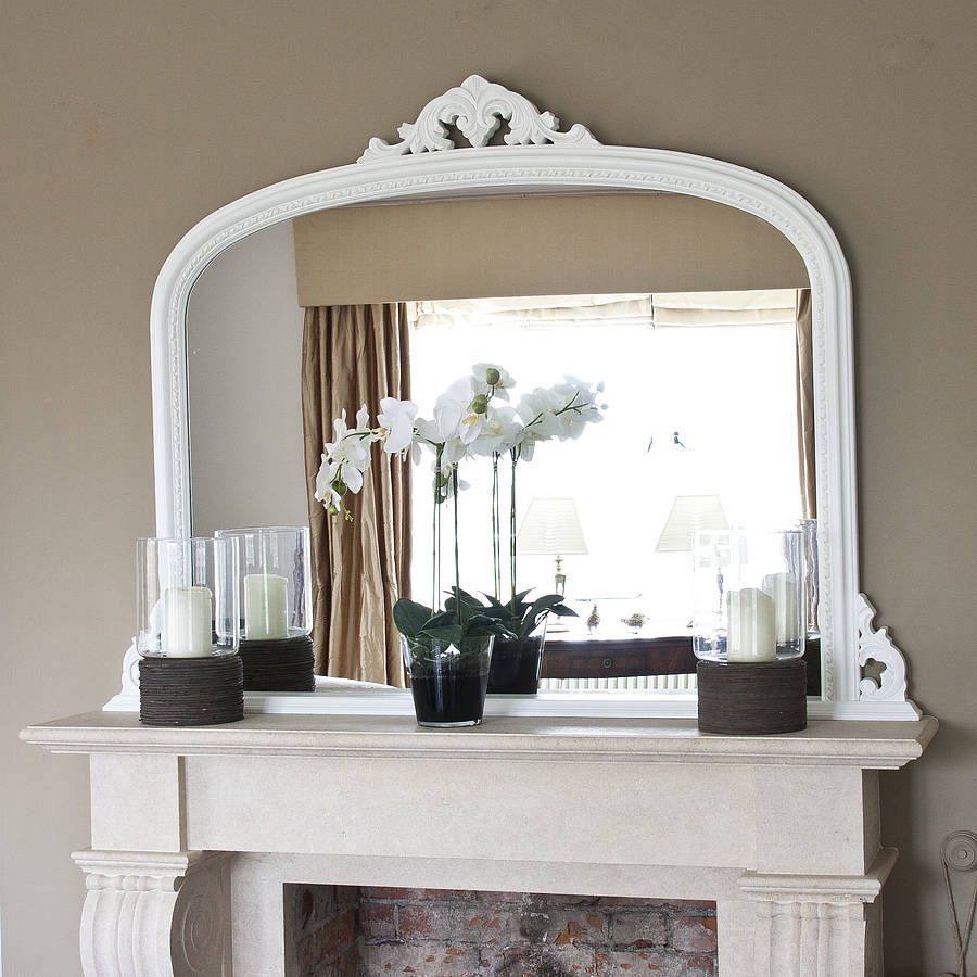 White Beaded Edge Overmantel Fireplace Mirror | Overmantle mirror ...