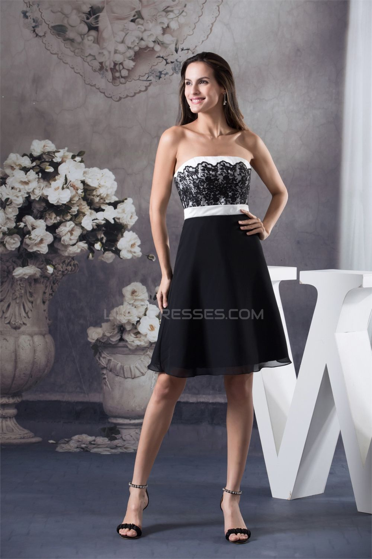 A-Line Strapless Sleeveless Short/Mini White Bridesmaid