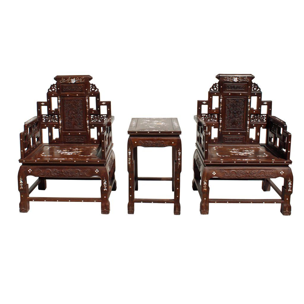 Chinese huali brown rosewood mother of pearl inlay carved armchair set cs4305s
