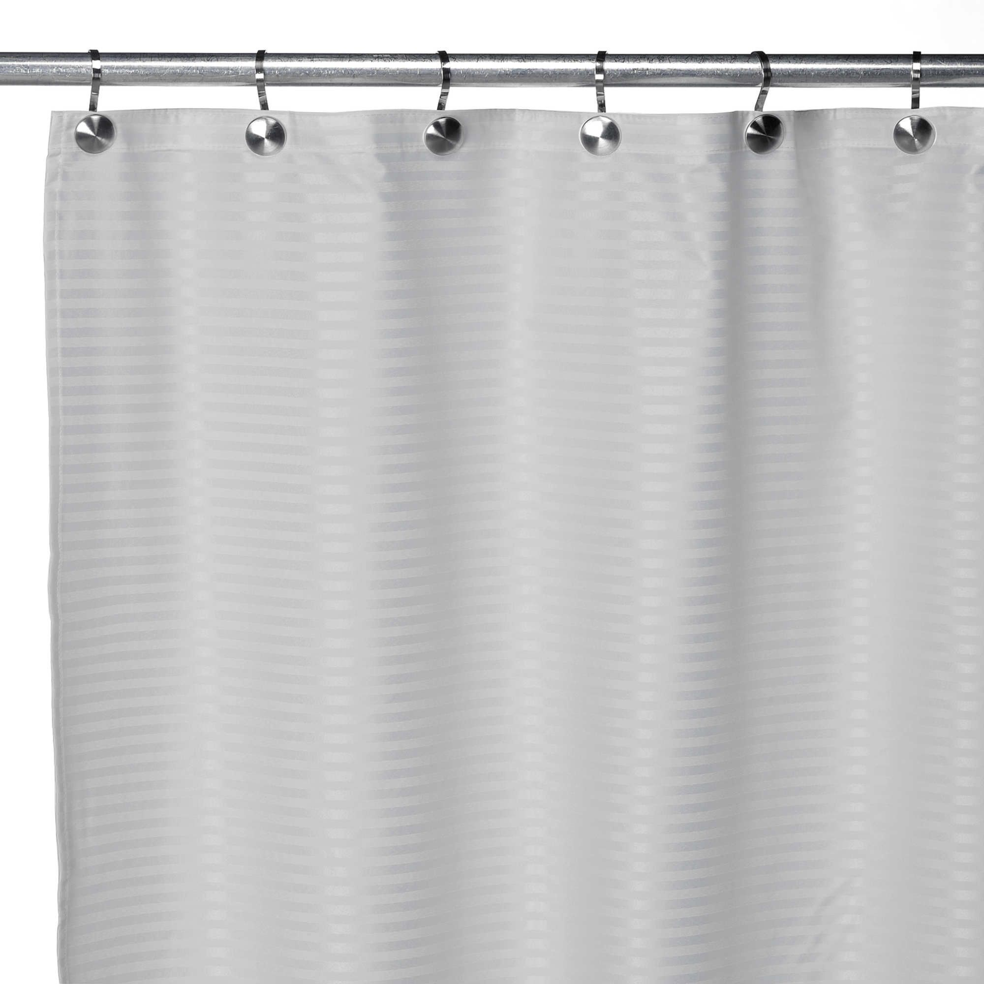 Pinstripe Premium Fabric Shower Curtain Liner 70 X72 Assorted Colors Beige Solid Color Striped Fabric Shower Curtains Curtains Sweet Home Collection
