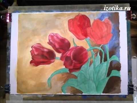 Красные тюльпаны. Акрил. Часть 2