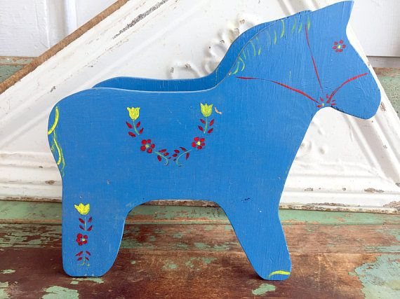 Vintage Dala Wood Wooden Horse Planters Hand Painted Folk Art Blue