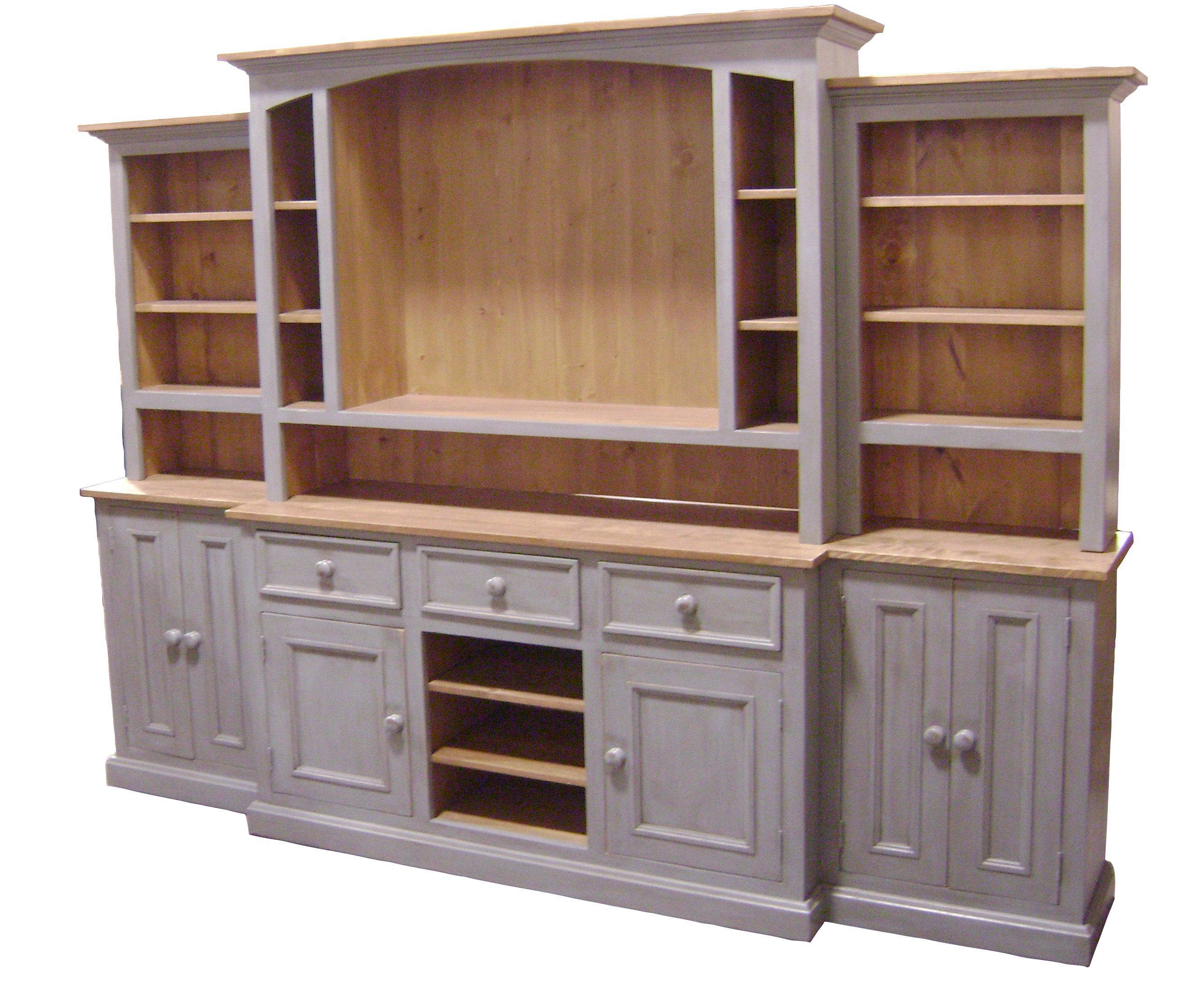 Wood Wall Units Coastal Grey This Beautiful Solidwood Country French Media Wall