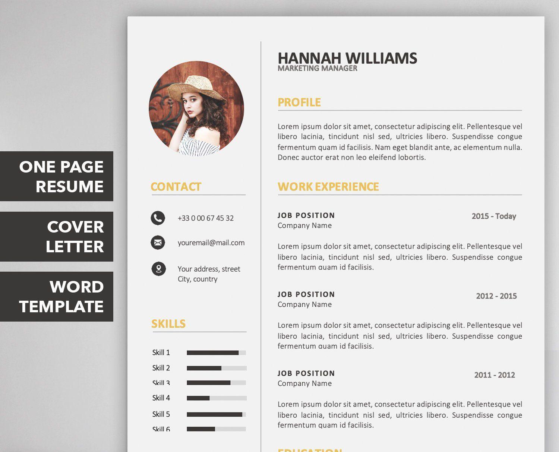 Resume Template Curriculum Vitae Cv Template Cover Etsy Curriculum Vitae Lettre De Motivation Idee Cv