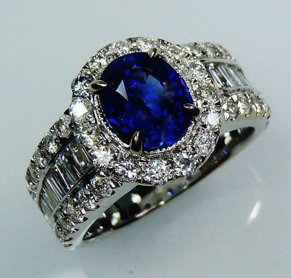 GIA Certified 18 kt White Gold 3.42 tcw Blue by SapphireRingCo