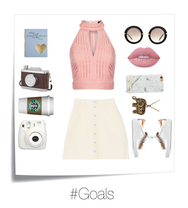 """""""Morning Coffe☕️"""" by h3llo6 on Polyvore featuring Post-It, Accessorize, Richmond & Finch, Lime Crime, Miu Miu, Michael Kors, Bardot and Oliver Gal Artist Co."""