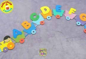 Alfabeto Trem Simples Em Eva Para Colar E Montar Em 2020