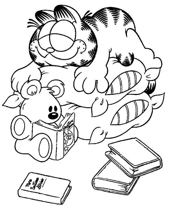 Garfield Slept On Pillows Coloring Pages For Kids Etx Printable Garfield Coloring Pages For Kids Cartoon Coloring Pages Disney Coloring Pages Coloring Books