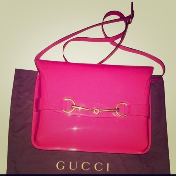 551b050ad2a0 Gucci Soft Patent leather bright bit Coral limited LIMITED EDITION!!  AUTHENTIC GUCCI LIKE NEW