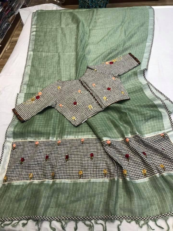 Excited to share this item from my #etsy shop: Linen silk sari,,,sarees,,,indian sari,,,sareeblouse #green #lgbtqpride